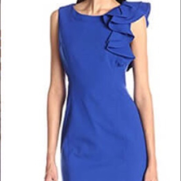 d1762a88 Calvin Klein Dresses | Ruffle Shoulder Sheath Dress | Poshmark
